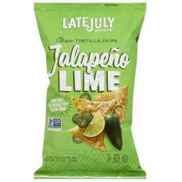 Late July Snacks Jalapeno Lime Clasico Tortilla Chips, 5.5 oz, (Pack of 12)