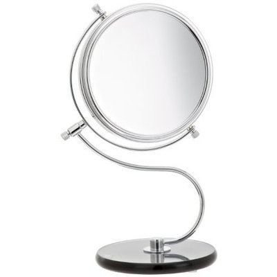 Jerdon JP826SBC 6-Inch Tabletop Two-Sided Swivel Vanity Mirror with 8x Magnification and Black Glass Base, 11-Inch Height, Chrome Finish