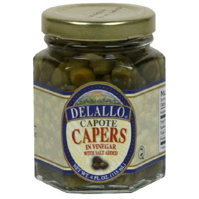 Delallo, Capers Capote, 4 OZ (Pack of 12)