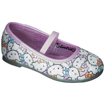 Toddler Girl's Hello Kitty Sequin Ballet Flats - White/Pink 8