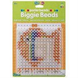 Perler Fun Fusion Biggie Bead Pegboards 2/Pkg-Clear Square-5.75