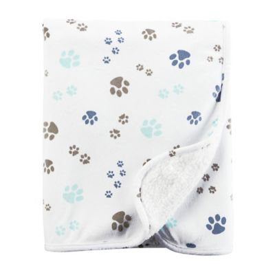 Carter's Paw Print Plush Blanket