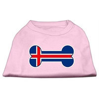 Mirage Pet Products 5116 LGLPK Bone Shaped Iceland Flag Screen Print Shirts Light Pink L 14