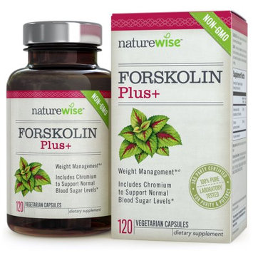 NatureWise Forskolin Plus+, Weight Management with Chromium for Healthy Blood Sugar Support, Coleus Forskohlii Supplement, 250 mg, 120-ct