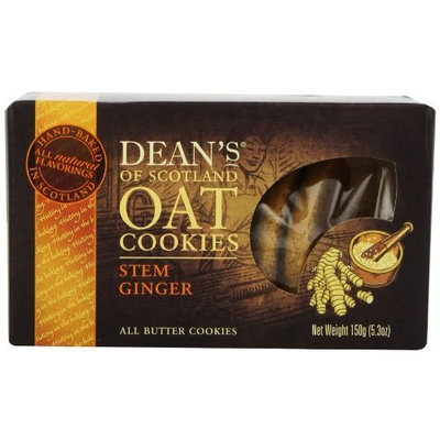 Brands of Britain Dean's of Scotland Stem Ginger Oat Cookies, 5.3-Ounce Boxes (Pack of 4)