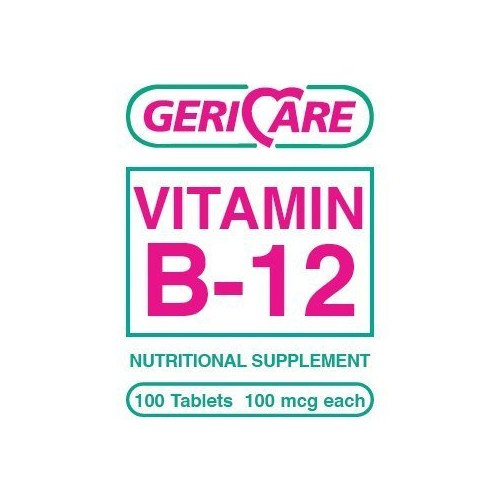 B-12 Vitamin B12 - Gerricare - Creative Rewards 100 Tablets Vitamin B-12 Di-calcium Phosphate 100mcg Each B12 Supplement for dietery health relieves stress adds energy