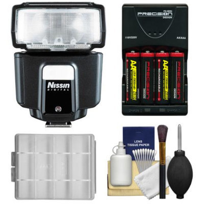Nissin Digital i40 Speedlite E-TTL Flash with Batteries & Charger + Kit for Canon EOS 6D, 70D, 5D Mark II III, Rebel T3, T3i, T4i, T5, T5i, SL1 DSLR Cameras