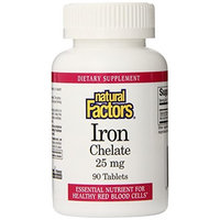 Natural Factors Iron Chelate 25mg Tablets, 90-Count (Pack of 2)