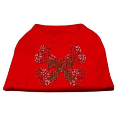 Mirage Pet Products 52-25-20 LGRD Candy Cane Crossbones Rhinestone Shirt Red L - 14