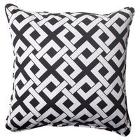 Pillow Perfect Outdoor 2-Piece Square Toss Pillow Set - Green/White Boxed In