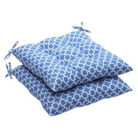 Pillow Perfect Outdoor 2-Piece Tufted Chair Cushion Set - Blue/White Geometric