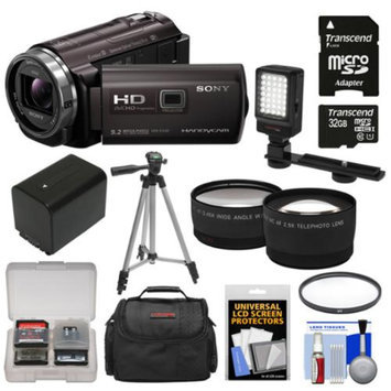 Sony Handycam HDR-PJ540 32GB 1080p HD Video Camera Camcorder with Projector with 32GB Card + Battery + Case + LED Light + Tripod + Tele/Wide Lens Kit