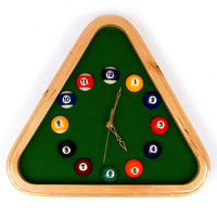 Trademark Global Games Trademark Global Pool Rack Quartz Clock with Solid Wood Frame