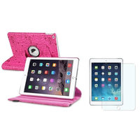 Insten iPad Air 2 Case, by INSTEN Hot Pink Cute Rotating Stand Leather Pouch + Anti-Glare Protector for Apple iPad Air 2nd Gen