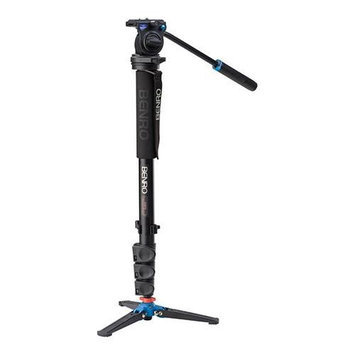 Benro A38FDS2 Video Monopod Kit - Flip Lock, with S2 Video Head and Case - Supports up 5.5 lbs, Maxi