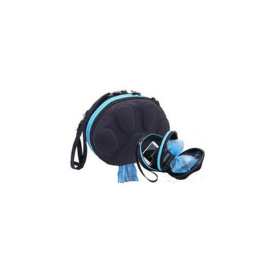 PawPac Designs PP2-00001 Dog Walker Waste Case Black with Sky Blue Zipper