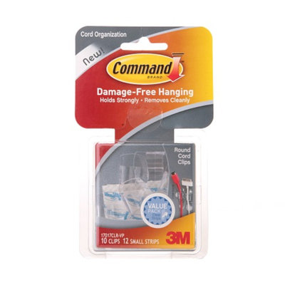 Command Clear Round Cord Clips