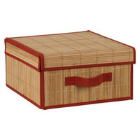 Household Essentials Storage Cube: Brick and Bamboo Lidded Box (Large)