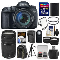 Canon EOS 7D Mark II GPS Digital SLR Camera & EF-S 18-135mm IS STM with 75-300mm III Lens + 64GB Card + Backpack + Battery/Charger + Tripod + 2 Lens Kit