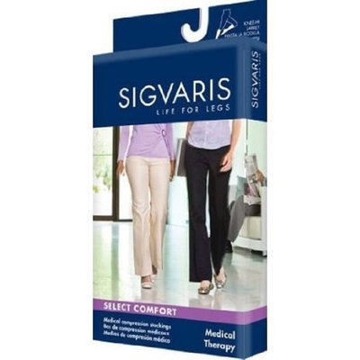 Sigvaris 860 Select Comfort Series 20-30mmHg Women's Closed Toe Knee High Sock Size: X1, Color: Dark Navy 08