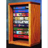 Wood Shed Desktop Media Storage w Individual Locking Slots (Honey Oak)