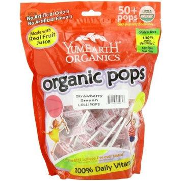 Yummyearth YumEarth Organic Strawberry Smash Lollipops, 12.3 Ounce Bag (Pack of 4)