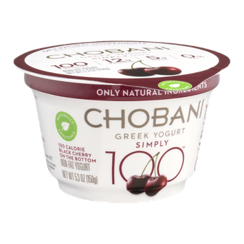Chobani® Simply 100 Non-Fat Greek Yogurt Black Cherry On The Bottom
