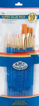 Royal Brush Brush Set Super Value Pack Gold Taklon, 10/Pkg