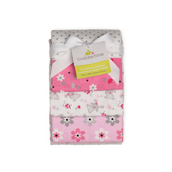 Cuddletime Newborn Girl's 4 Pack Receiving Blankets Bella Bunny - TRIBORO QUILT MFG. CORP.