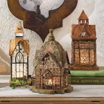 Signals Tealight Candle Lanterns - Set Of 3 Glass And Metal Architectural Houses