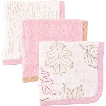 Baby Vision Touched by Nature Organic Muslin Washcloth 3 Pack - Girl Leaves