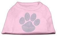 Mirage Pet Products 5254 LGLPK Blue Paw Rhinestud Shirt Light Pink L 14