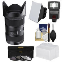 Sigma 18-35mm f/1.8 Art DC HSM Zoom Lens (for Sony Alpha A-Mount Cameras) with Flash + Soft Box & Diffuser + 3 UV/CPL/ND8 Filters + Kit