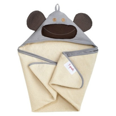 3 Sprouts Grey Monkey Hooded Towel - Newborn/Infant