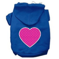 Mirage Pet Products Pink Swiss Dot Heart Screen Print Pet Hoodies Blue Size Sm (10)