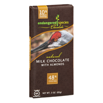 Endangered Species Chocolate Milk Chocolate With Almonds Bar Natural - Sandhill Crane