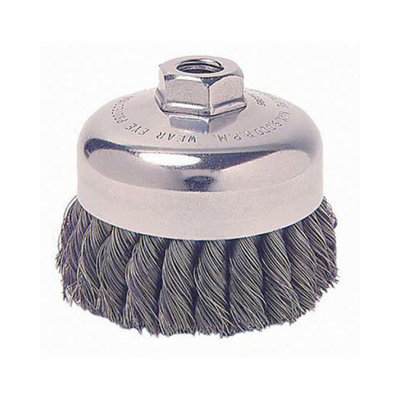 Weiler General-Duty Knot Wire Cup Brushes - sra-2 .020 ss 3/8-242 3/4in dia