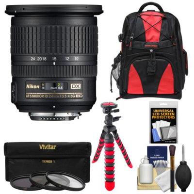 Nikon 10-24mm f/3.5-4.5 G DX AF-S ED Zoom-Nikkor Lens with 3 UV/CPL/ND8 Filters + Backpack + Flex Tripod + Kit for D3100, D3200, D3300, D5100, D5200, D5300, D7000, D7100 DSLR Cameras