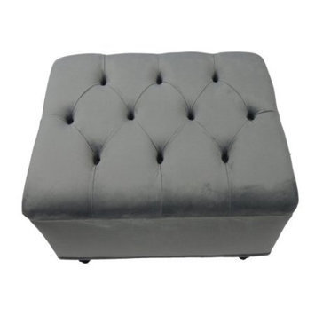 Fun Furnishings Tres Chic Ottoman - Grey Velvet