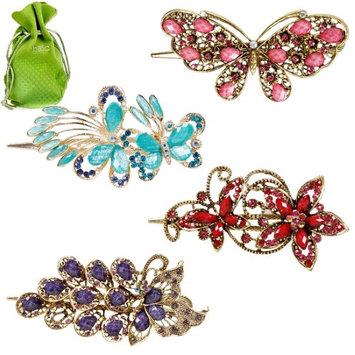Bundle Monster BMC Elegant 4pc Metal Alloy Butterfly Crystal Fashion Mixed Design Hair Clip Set