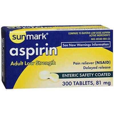 Sunmark Aspirin Adult Enteric Safety Coated Tablets, 81 mg, 300 Tabs by Sunmark