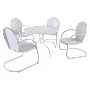 Crosley Griffith 5-Piece Metal Patio Dining Furniture Set -White