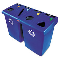 Rubbermaid Commercial Glutton Recycling Station, Rectangular, Plastic, 92 gal, Blue