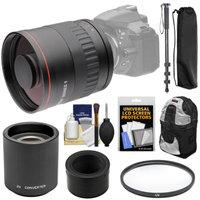 Vivitar 800mm f/8 Mirror Lens with 2x Teleconverter (=1600mm) + Monopod + Backpack + Filter Kit for Nikon 1 J1, J2, J3, J4, S1, V1, V2, V3 Camera