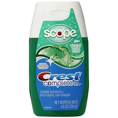 Crest Complete Plus Scope Liquid Gel Toothpaste - Minty Fresh 4.6 Oz (Pack of 6)