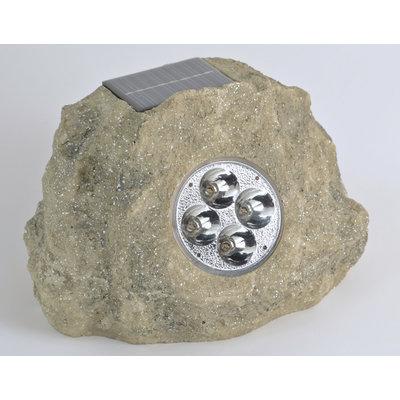 Homebrite Solar Solar Power Jumbo Rock Spot Light in Grey (Set of 3)