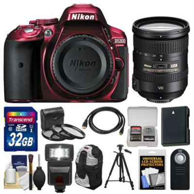 Nikon D5300 Digital SLR Camera Body (Red) with 18-200mm VR II Zoom Lens + 32GB Card + Backpack + Flash + Battery + Tripod Kit