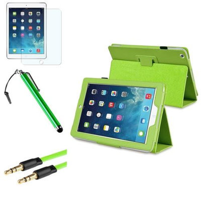 Insten INSTEN Green PU Leather Case Stand Cover+Matte Protector+Cable For Apple iPad Air 5 5th Gen