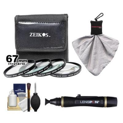 Zeikos 4-Piece +1 +2 +4 +10 Close-Up Macro Filter Set (67mm) + Lenspen + Spudz Microfiber Cleaning Cloth + Cleaning Kit for Canon, Nikon, Olympus, Pentax & Sony Digital SLR Cameras
