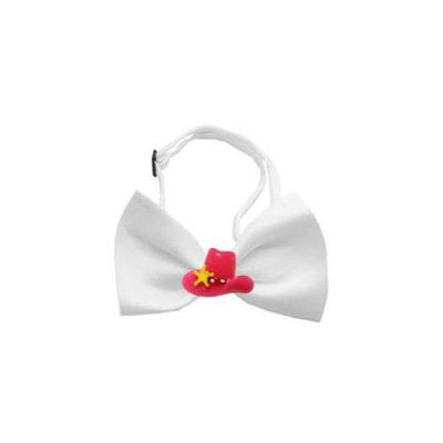 Ahi Pink Cowboy Hat Chipper White Bow Tie